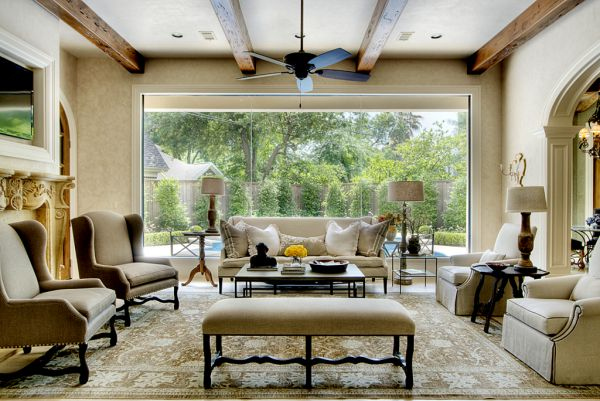 Large windows and how to decorate around them for Large living room design ideas