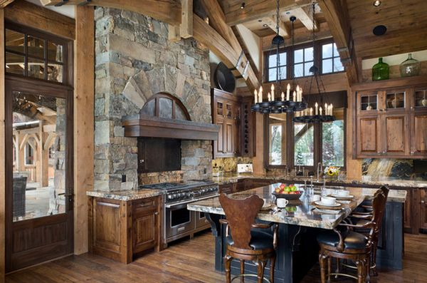 View In Gallery Very Warm But Also Open Kitchen Featuring Charming Chandeliers Rustic Kitchens