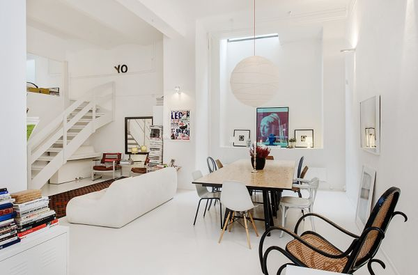 White Stockholm Apartment Balanced By Colorful Accent Elements