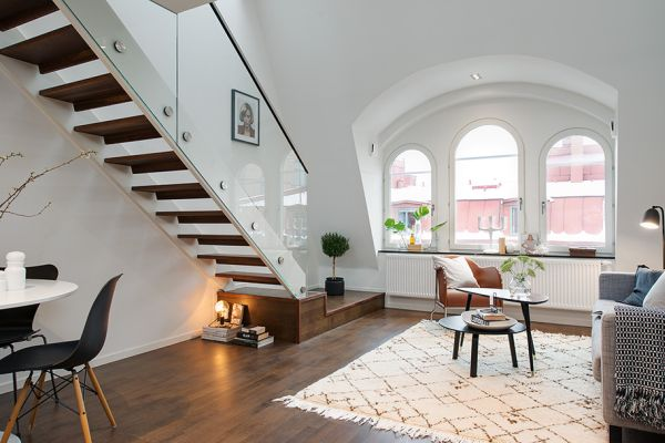 modern swedish maiso te with a charming upstairs bedroom