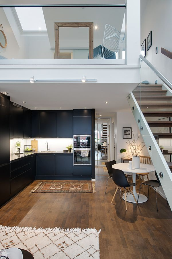 Interior Design For Apartment Kitchen: Modern Swedish Maisonette With A Charming Upstairs Bedroom