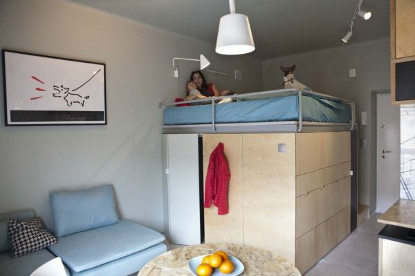 22 square meter apartment with ingenious storage solutions for Living room 10 square meters