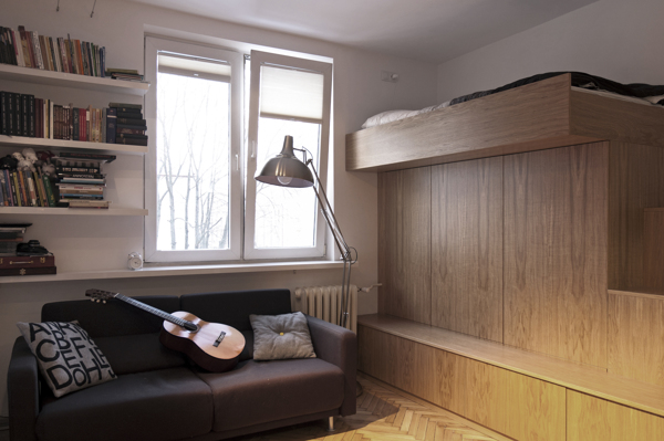 Small bachelor apartment with a very practical design 22 for Living room 10 square meters