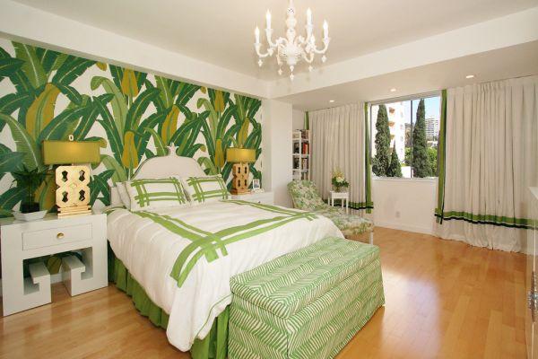 View In Gallery Blending Bold Banana Leaf Wallpaper