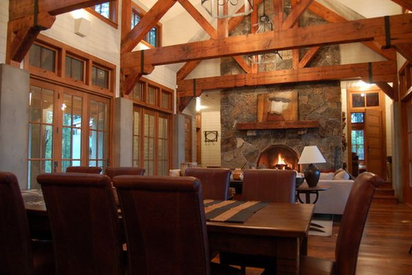 High Ceiling Cabin : Wooden beams and stone the perfect combination for a