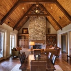 Wooden Beams And Stone The Perfect Combination For A Cabin Like Feel
