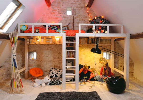 Sleep and play 25 amazing loft design ideas for kids - Picture of teeneger room decoration ...