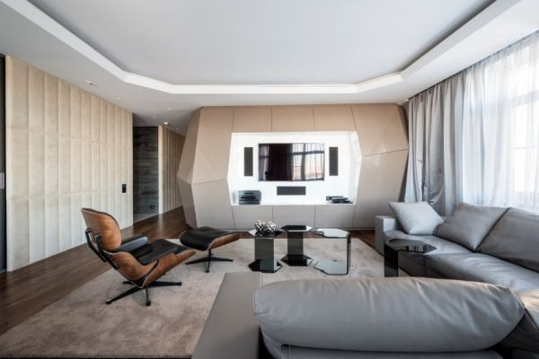 Dominion – A Futuristic Moscow Apartment With Custom Interior Design