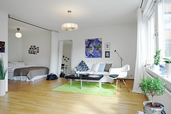 Small One Room Apartments Featuring A Scandinavian Décor - Designing a one bedroom apartment