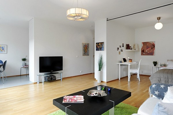 10 small one room apartments featuring a scandinavian d cor for Minimalist one room apartment