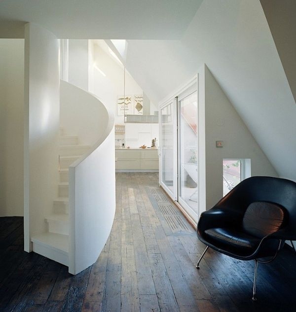 large white staircase saving space with graceful spiral staircases