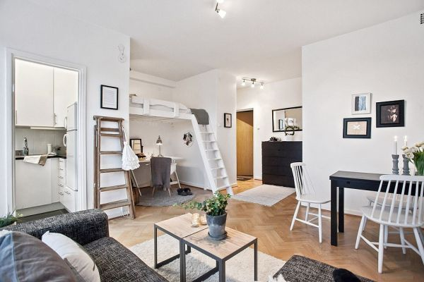 Space saving design in a 29 square meter gothenburg studio for Houzz small apartments