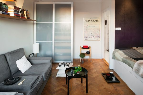 10 small one room apartments featuring a scandinavian d cor for Decoracion de living pequenos