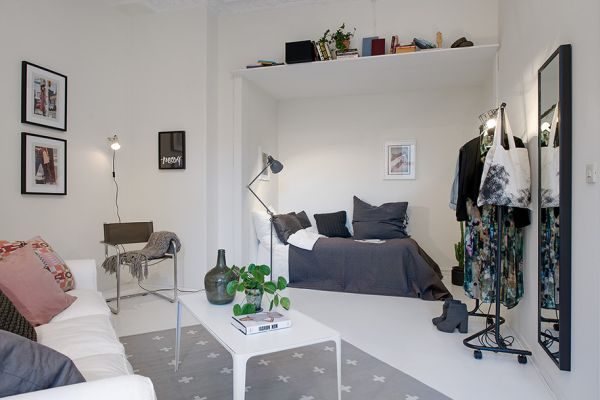10 small one room apartments featuring a scandinavian d cor for One room apartment design
