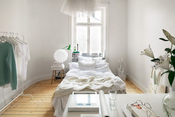 White Apartment 10 small one room apartments featuring a scandinavian décor