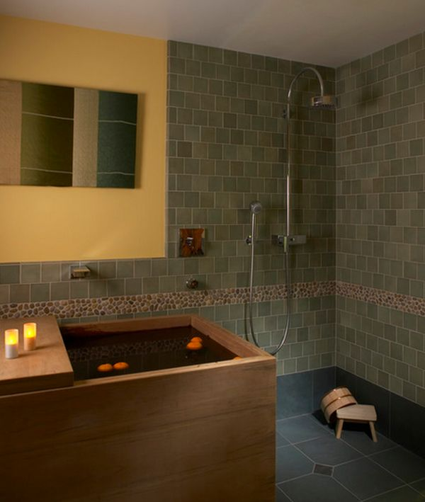 Deep soaking japanese bathtubs turn the bathroom into a spa for Asian small bathroom design
