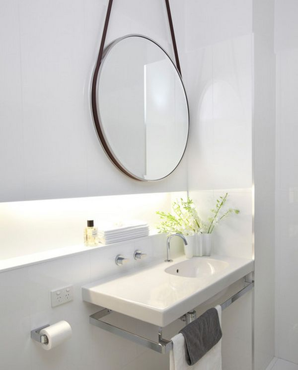 Sink designs suitable for small bathrooms - Round mirror over bathroom vanity ...