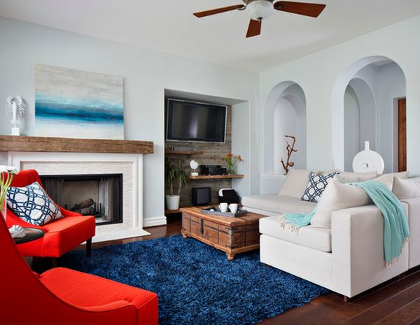 White Fireplace Brick Grey Walls