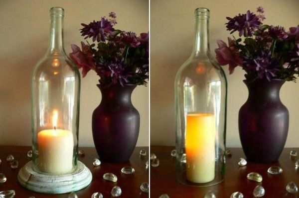 Get crafty and make some unique candle holders 50 ideas for How to make candle holders out of wine bottles