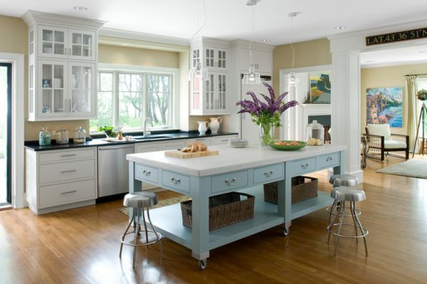 Portable kitchen islands they make reconfiguration easy for Built in kitchen islands