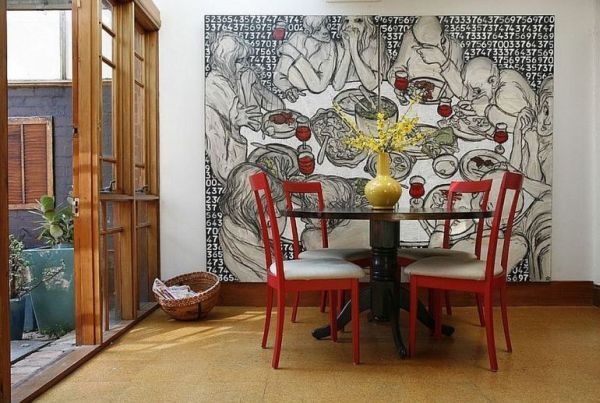 Different ways to use beautiful and large art pieces for Dining room paintings