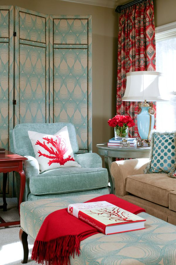 Powder blue and poppy red rooms ideas and inspiration for Red and blue living room ideas