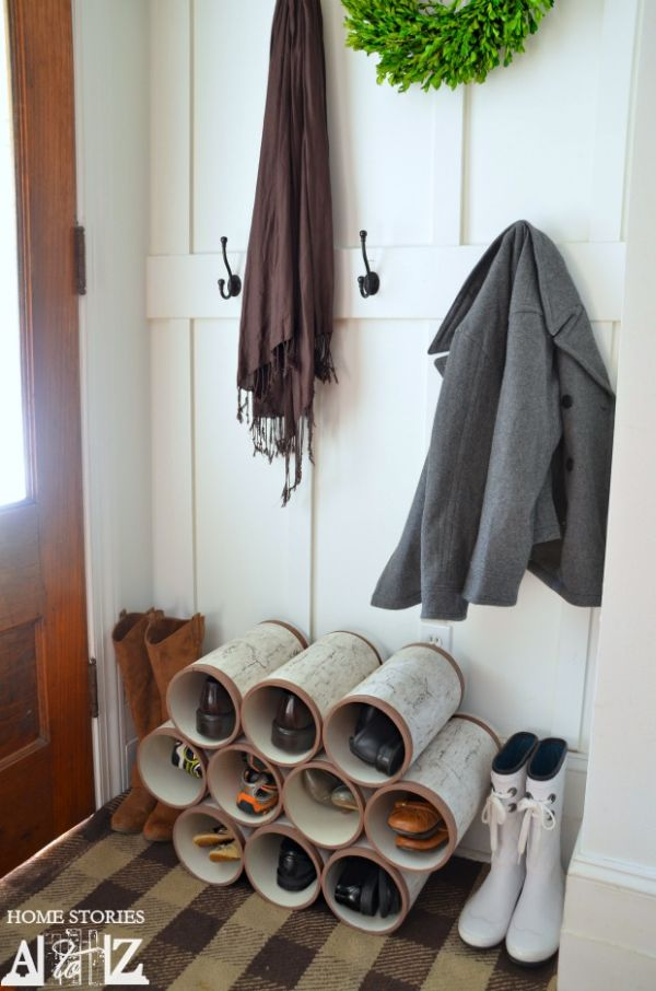 PVC Pipe Shoe Racks.