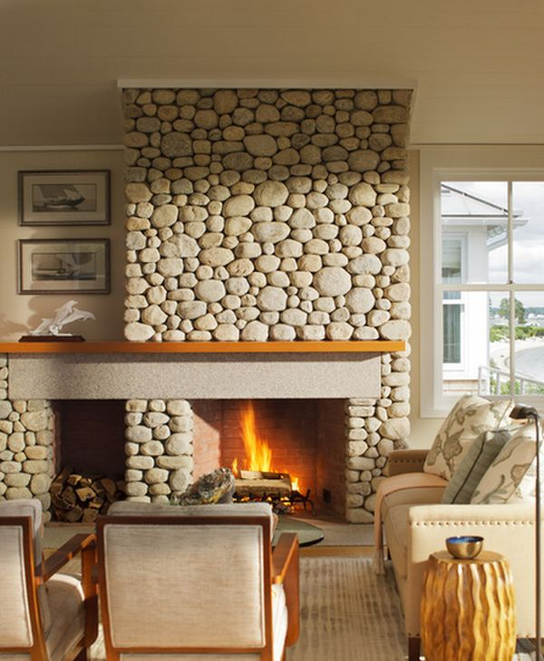 34 beautiful stone fireplaces that rock - Feature wall ideas living room with fireplace ...