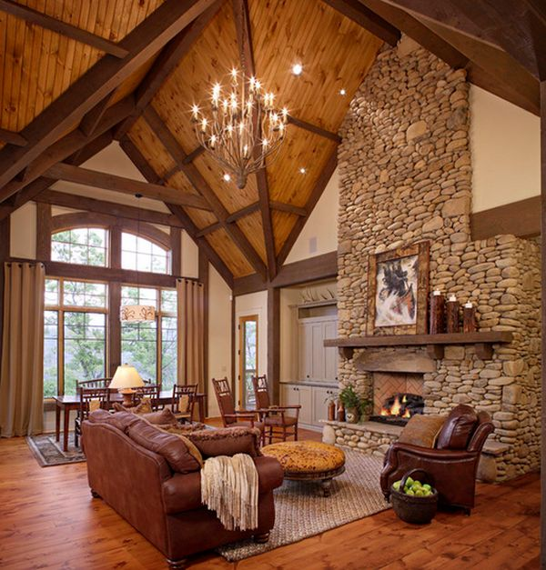 Superb 34 Beautiful Stone Fireplaces That Rock