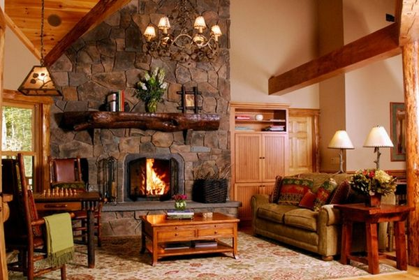 Wood fireplace mantels a cozy focal point element for for Rustic rock fireplace designs