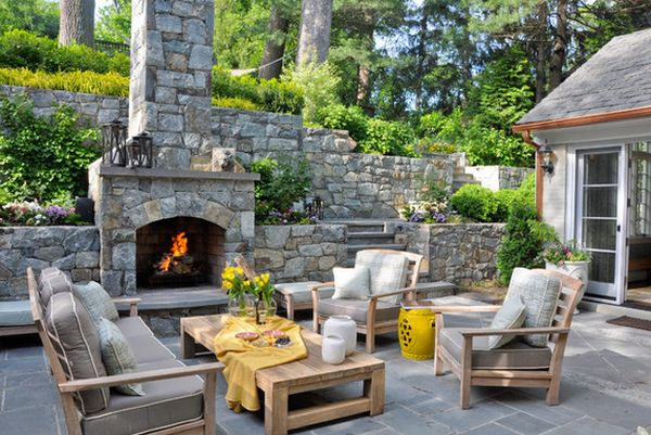 outside stone fireplace. View in gallery 34 Beautiful Stone Fireplaces That Rock
