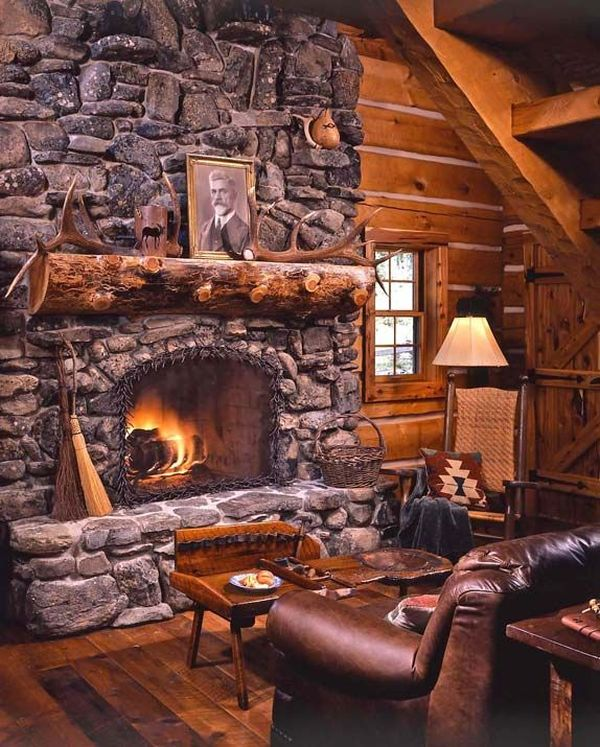 34 beautiful stone fireplaces that rock for Cabin fireplace pictures