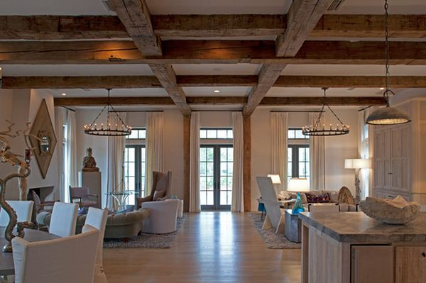 View in gallery Pair the wood ceiling beams ...