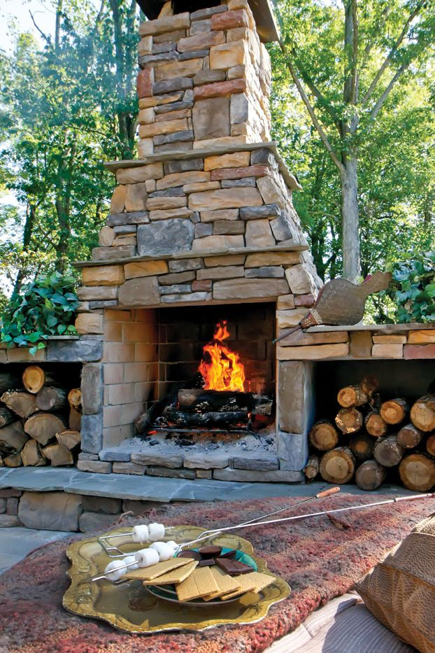34 beautiful stone fireplaces that rock Deck fireplace designs