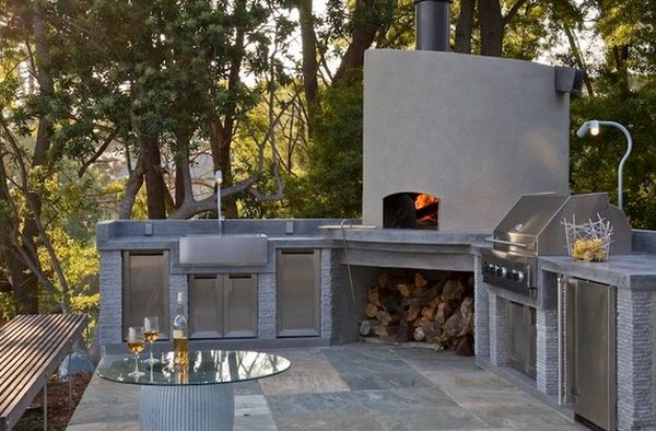 outdoor kitchen pizza oven design. view in gallery. the stainless steel appliances and minimalist pizza oven design outdoor kitchen l