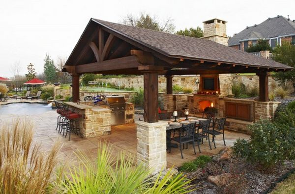 Outdoor Roof outdoor kitchen designs featuring pizza ovens, fireplaces and