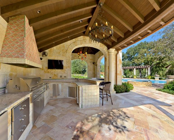 outside kitchen designs outdoor kitchen designs featuring pizza ovens fireplaces 853