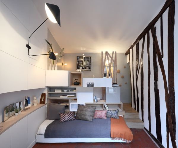 12 square meter room transformed into a mini studio for One big room apartment