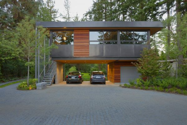 15 contemporary houses and their inspiring garages for Modern house plans with garage