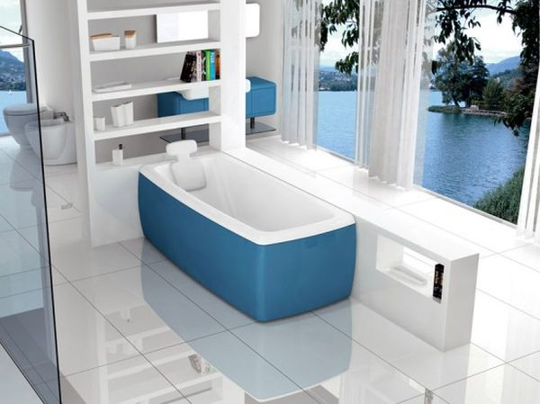 Beautiful Colored Tub In The Bathroom.