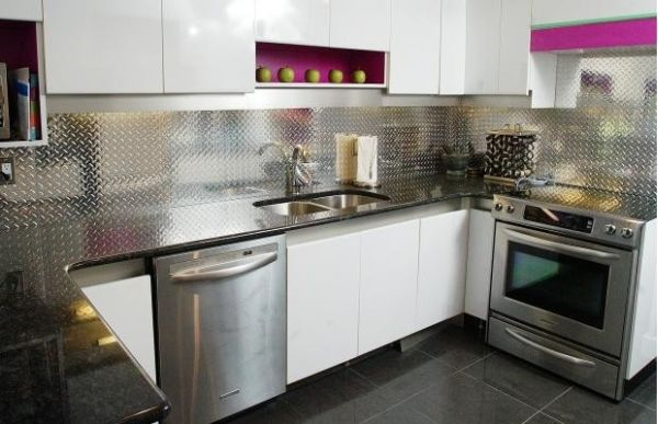 Make A Statement With A Metallic Kitchen Backsplash