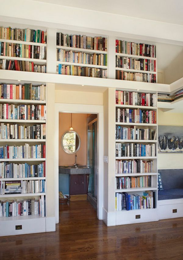 Bookshelves Above The Door.