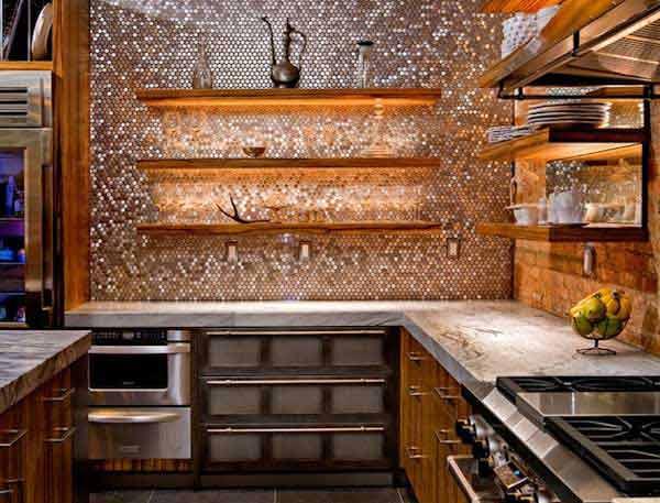 Brass Kitchen Wall Decor : Make a statement with metallic kitchen backsplash
