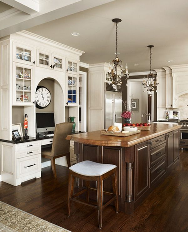 Superior Desk In Kitchen Design Ideas Part - 12: 20 Clever Ideas To Design A Functional Office In Your Kitchen