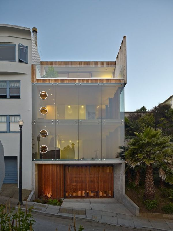 Glass facade house