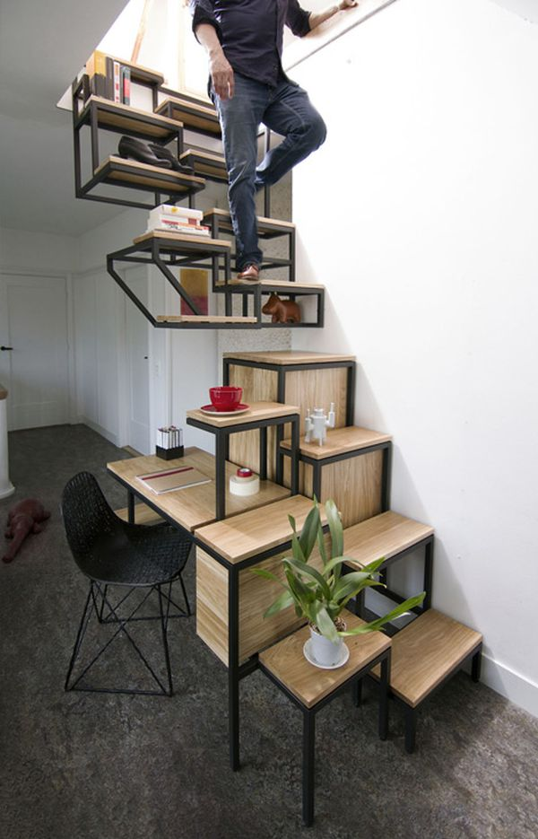 Amazing Desk, Storage And Shelving All Combined In An Innovative Staircase Design