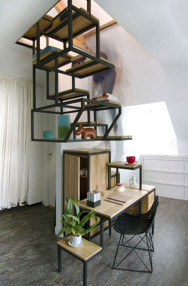 Desk Storage And Shelving All Combined In An Innovative Staircase Design