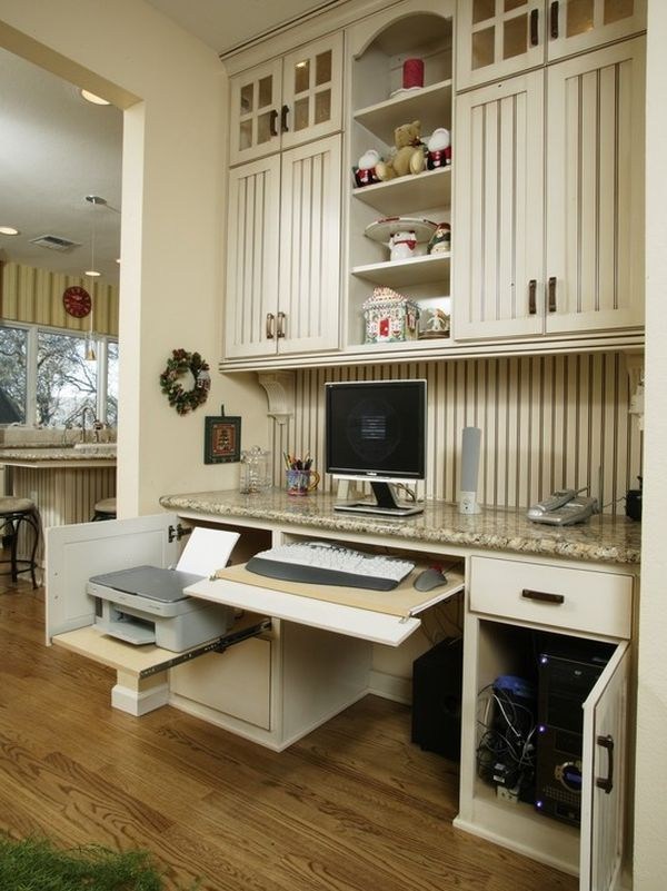 20 clever ideas to design a functional office in your kitchen. Black Bedroom Furniture Sets. Home Design Ideas