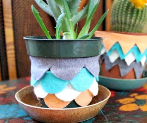 DIY Felt Scalloped Planter