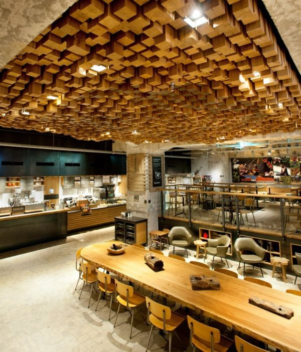 starbucks amsterdam ceiling made from 1876 cut blocks